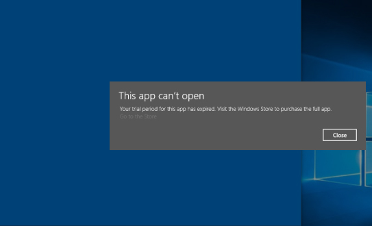 Your Trial Period for This App Has Expired - Error in Windows 10