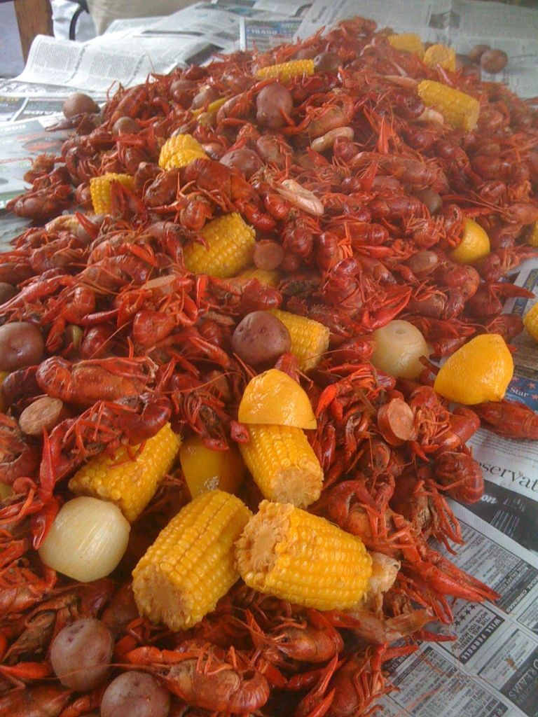 Crawfish Boiled in Crab Boil with Sweet Corn and Baby Potatoes.