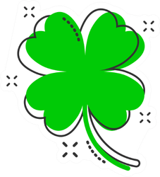 Cartoon Four Leaf Clover Icon Sticker