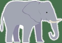 Large Cartoon Elephant Sticker