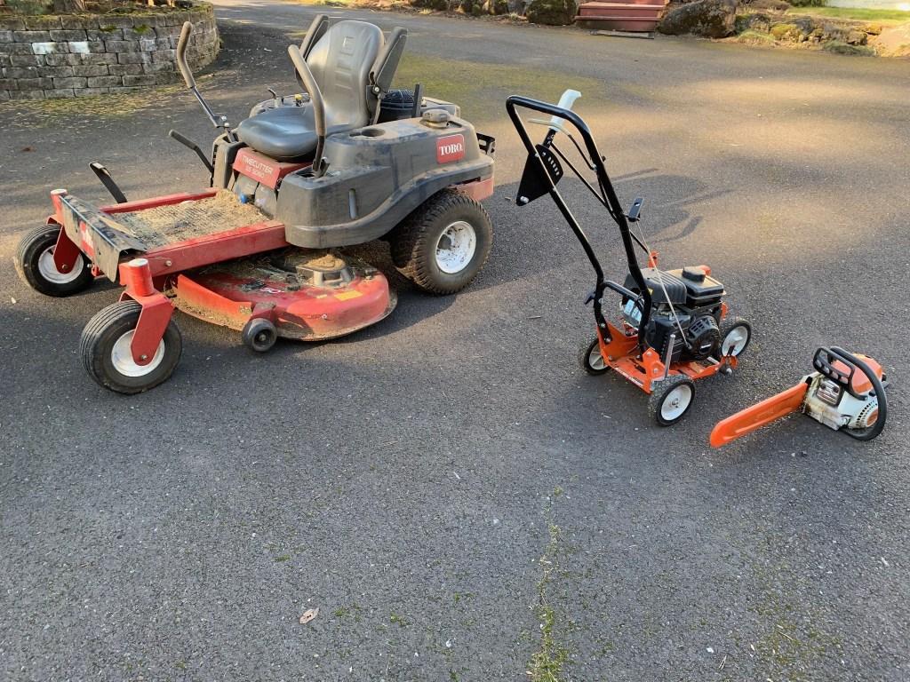 Riding mower, edger, chainsaw