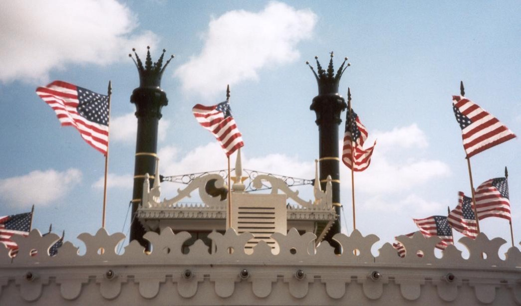 Disneyland riverboat with flags