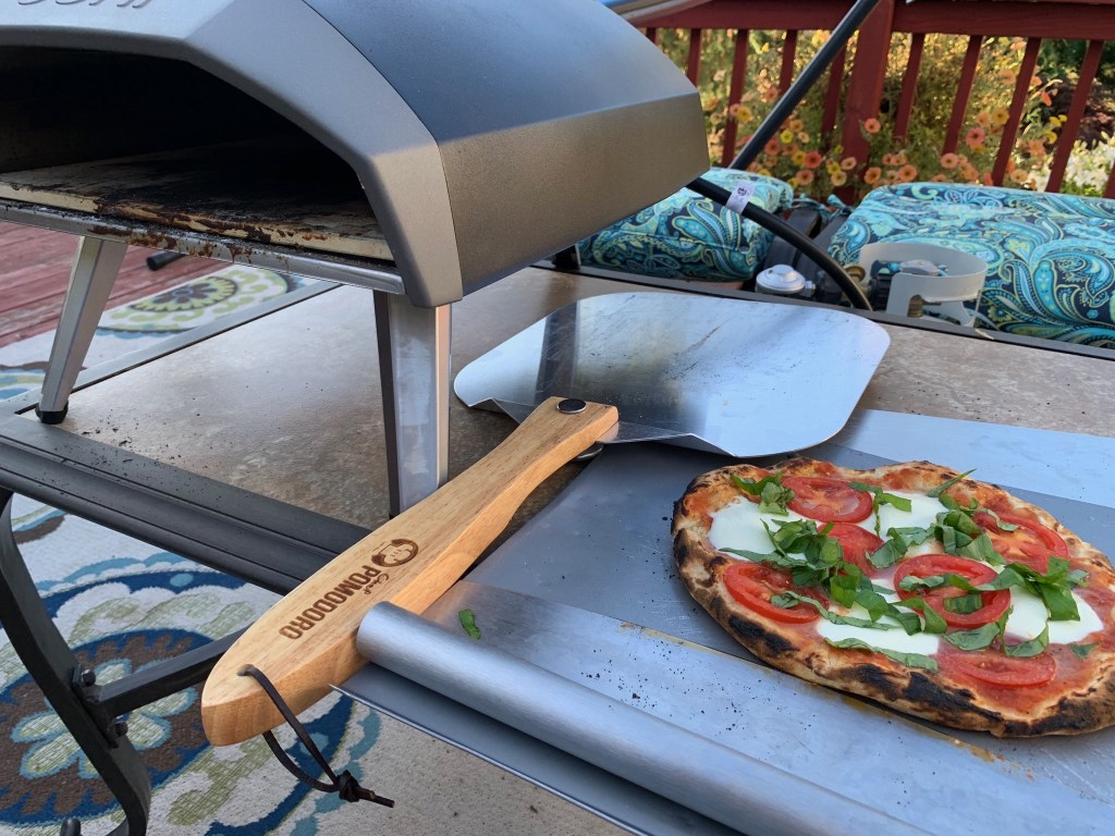 Ooni Koda pizza oven and margherita pizza