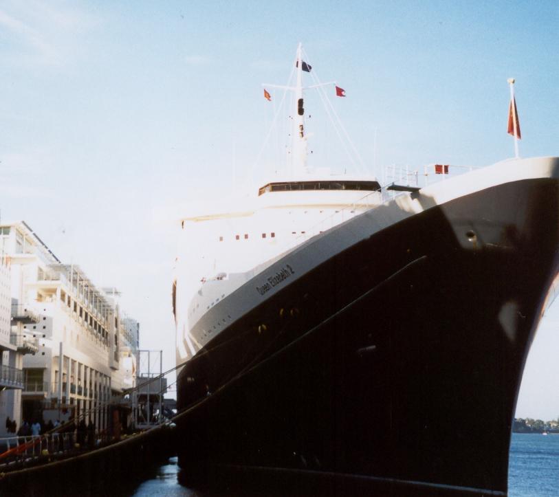 QE2 docked at aparments