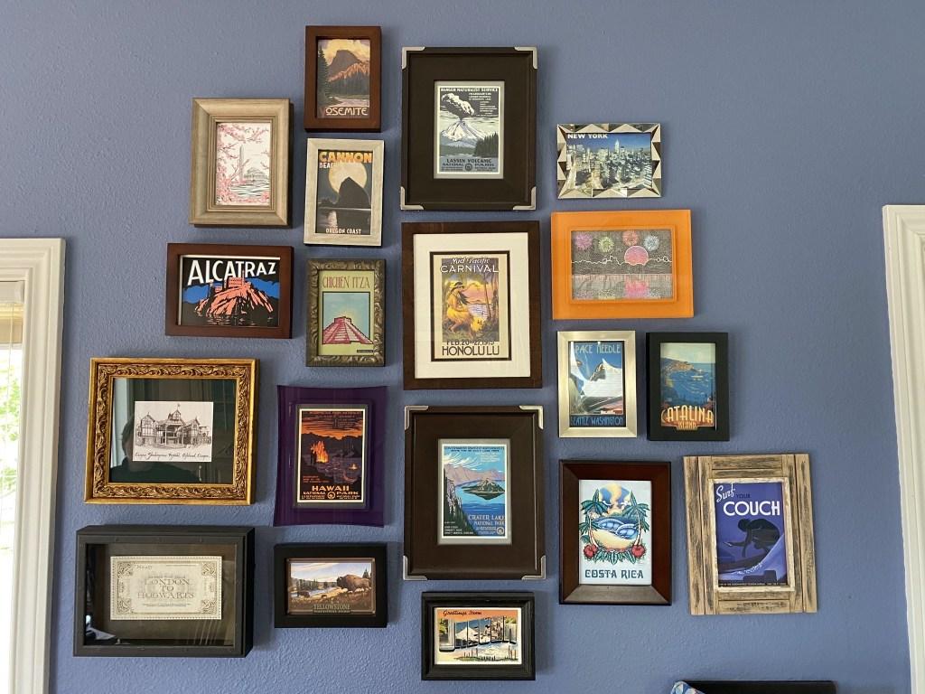 Framed travel postcards