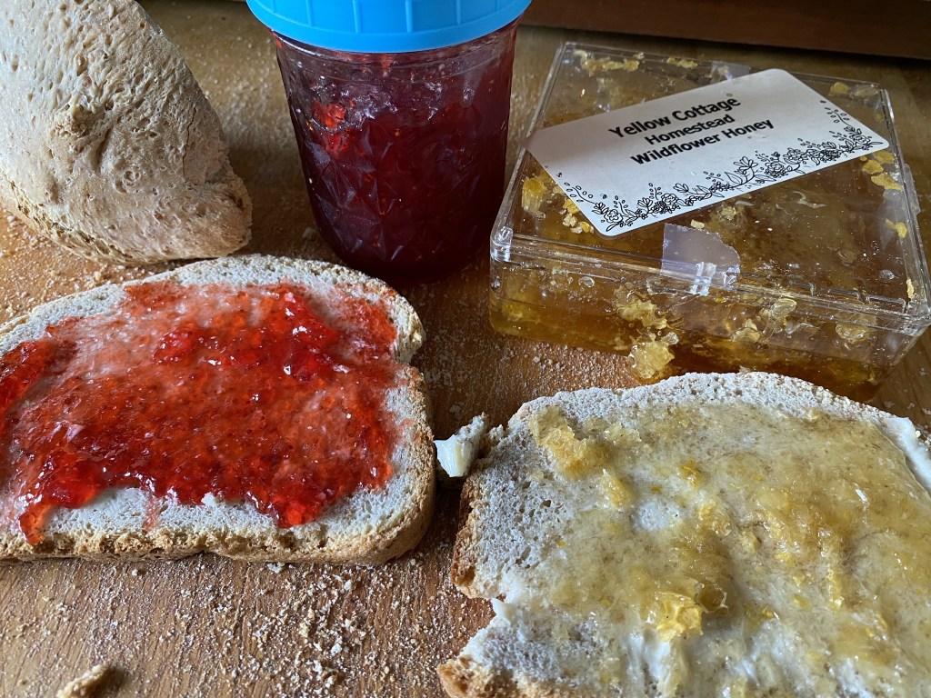 Strawberry jam and honey toast