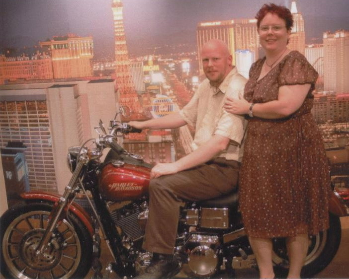 Us in the Harley Davidson store in Vegas