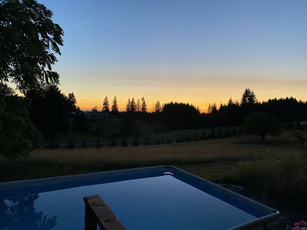 Sunset and swimming pool