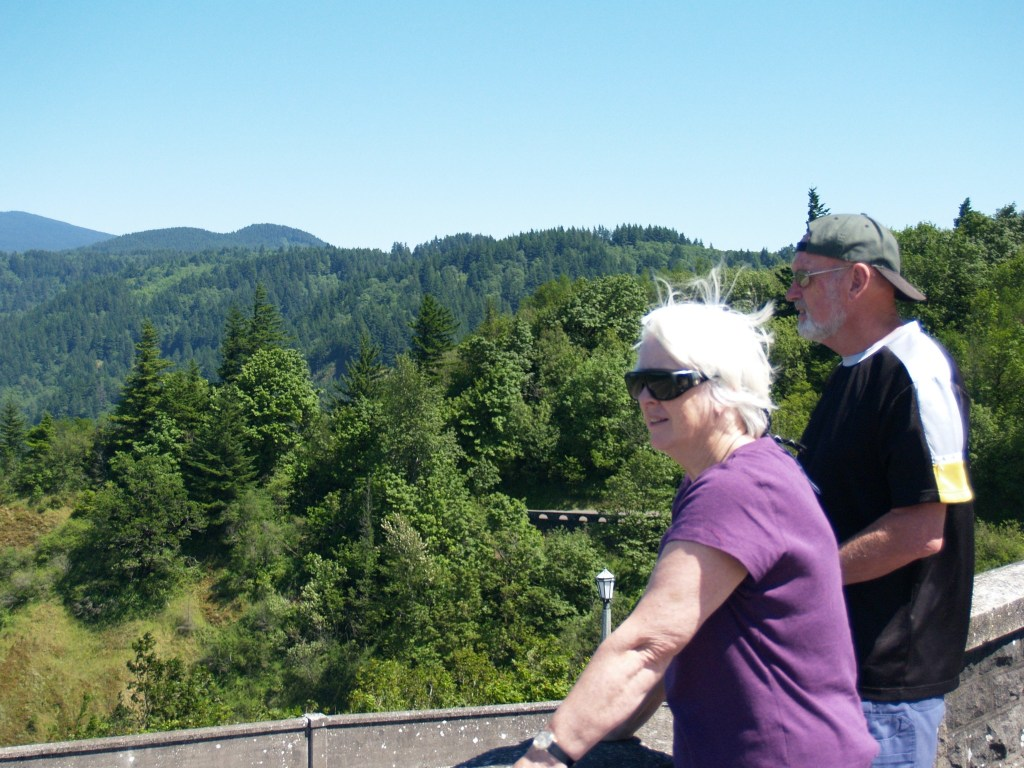 Mum and Brian in the Columbia River Gorge