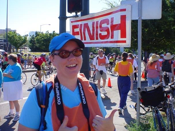 Jenn at finish of Bridge Stride