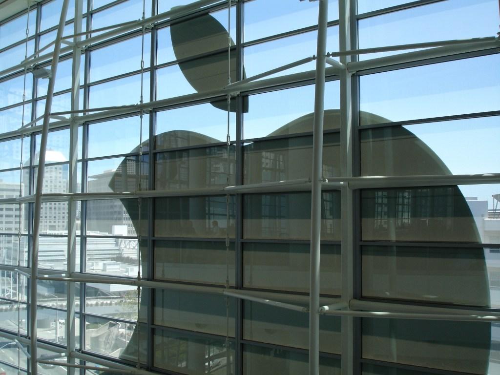 Apple logo on window
