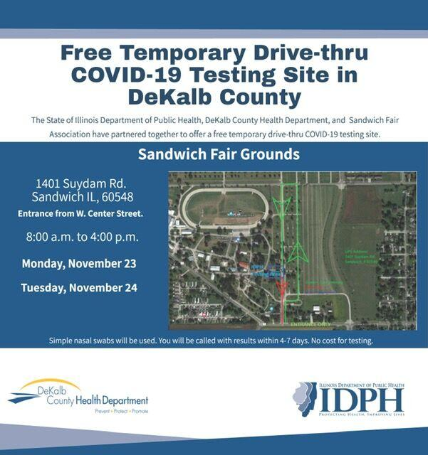 Free COVID-19 Testing Site Sandwich Fair Grounds Coming