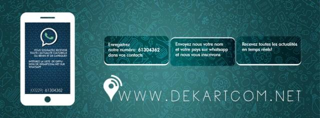 S'inscrire a la liste de diffusion de Dekartcom.net, c'est simple: 1- Eregistrez notre numéro: +229 61 30 43 62 dans vos contacts 2- Envoyez nous votre nom et votre pays sur whatsapp et nous vous inscrivons 3- Recevez toutes les actualités en temps rééls! Dekartcom.net plateforme panafricaine d'information culturelle depuis 2007 C'est simple ! Inscrivez-vous à notre liste de diffusion sur Whatsapp au numéro +229 61 30 43 62. Dekartcom.net, plateforme panafricaine d'informations culturelles depuis 2007
