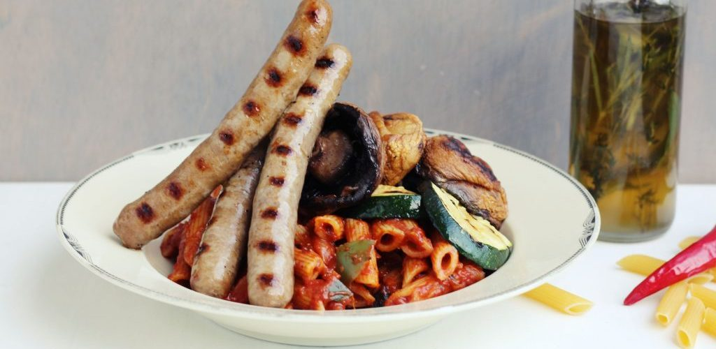 pasta met gegrilde worstjes