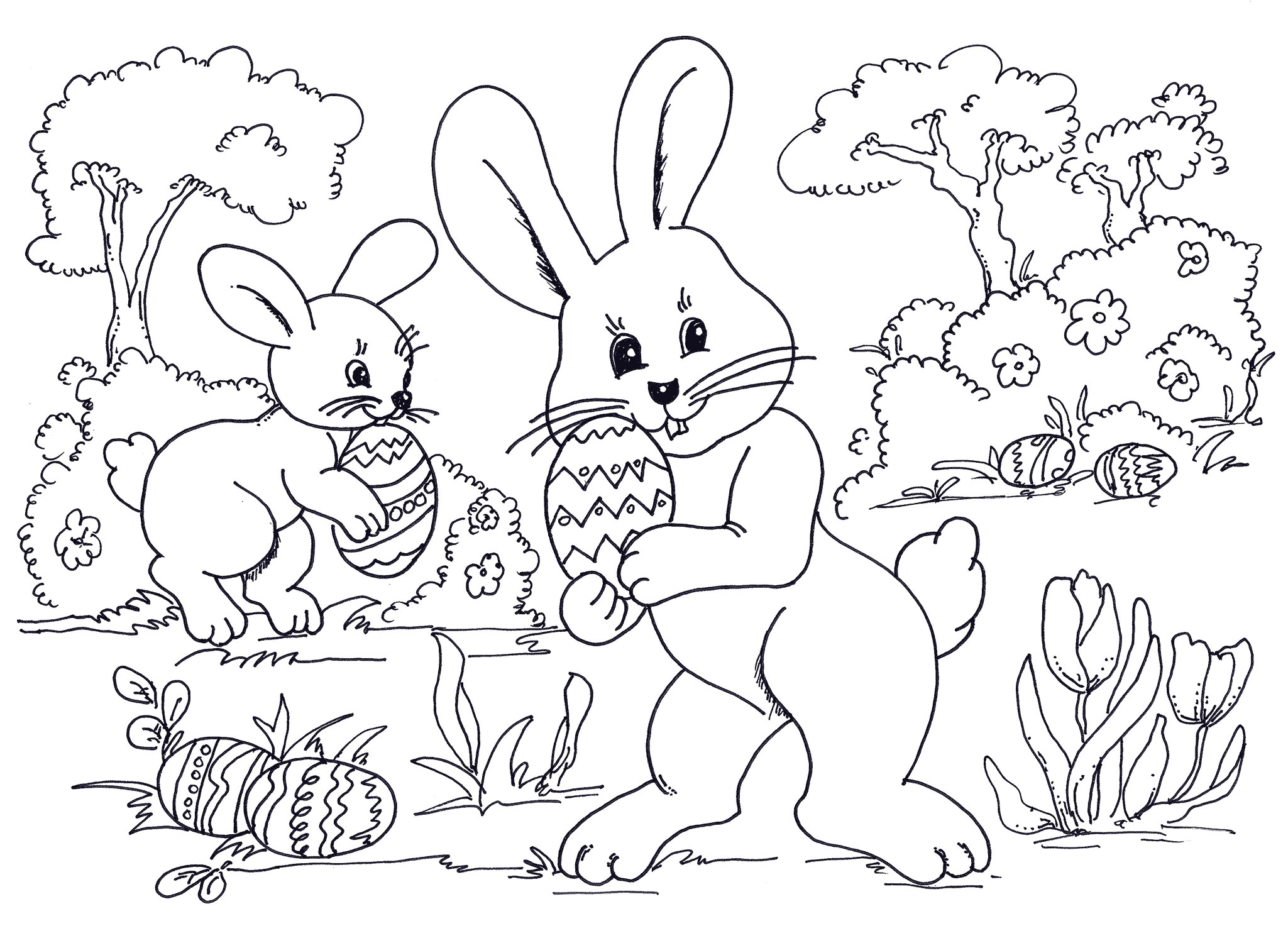 Happy Easter Day Eggs Coloring Print Pages Free Printable