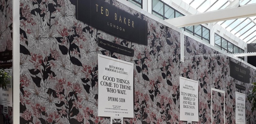 Branded retail hoarding for Ted Baker at York Designer Outlet