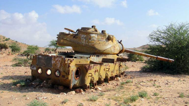 Remaining-of-civil-war-An-old-soviet-tank-on-the-road-from-Hargeisa-to-Berbera-Somaliland