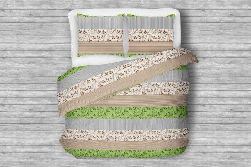 Komplet pościeli z bawełny TERMES biały/brązowy/zielony