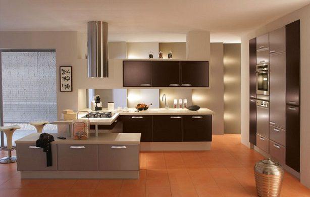 kahve tonlarında modern mutfak