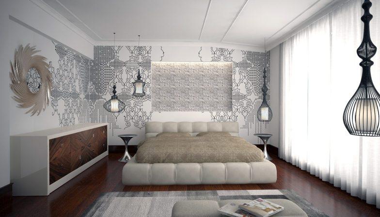 gri beyaz yatak odası