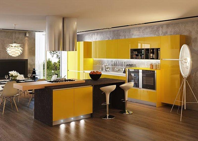 इंटीरियर में पीले रंग के साथ भूरे रंग का संयोजन