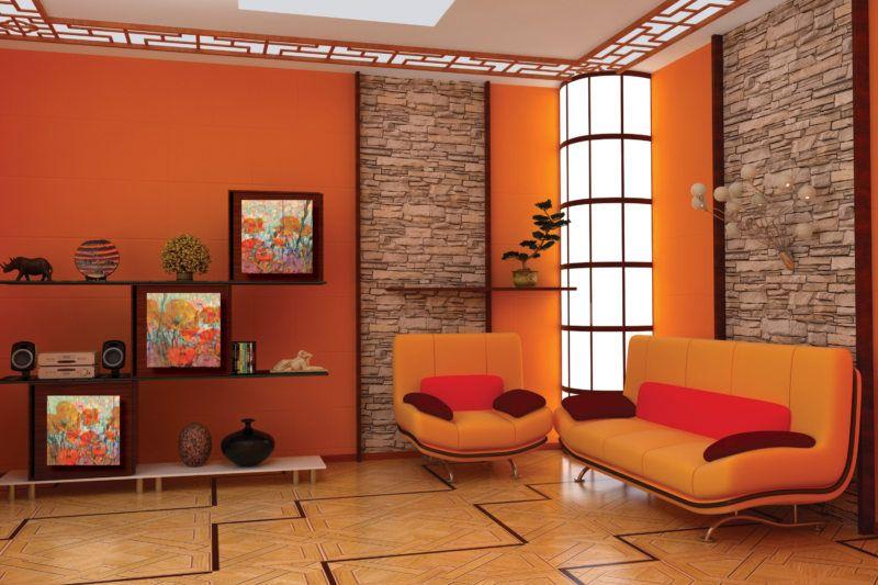 इंटीरियर में नारंगी रंग के साथ भूरे रंग का संयोजन