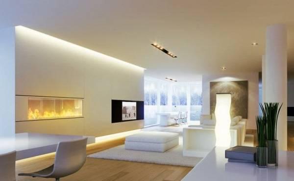 Ultra modern bir oturma odasında yatay duvar aydınlatması