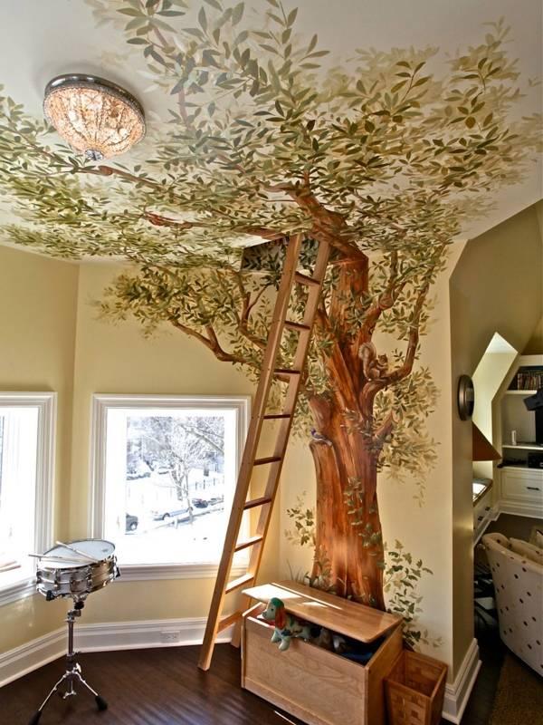 Красивые фрески и рисунки на стенах в интерьере