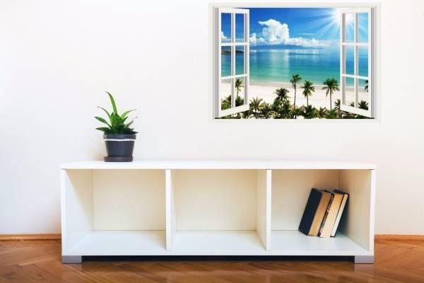 İç kısımdaki 3D çıkartmalar - oturma odasında duvardaki fotoğraf