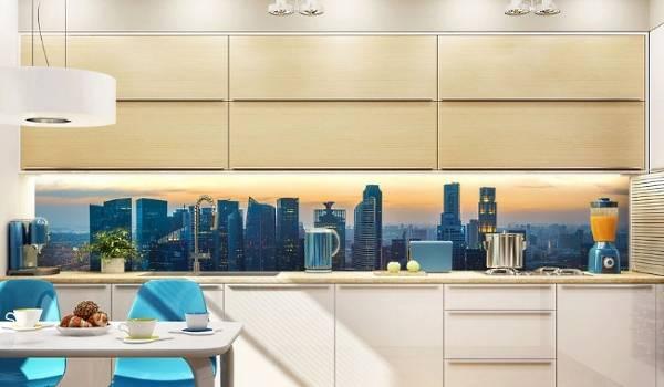 Fotoğraf duvar kağıdının mutfakta mobilya ve dekorla kombinasyonu