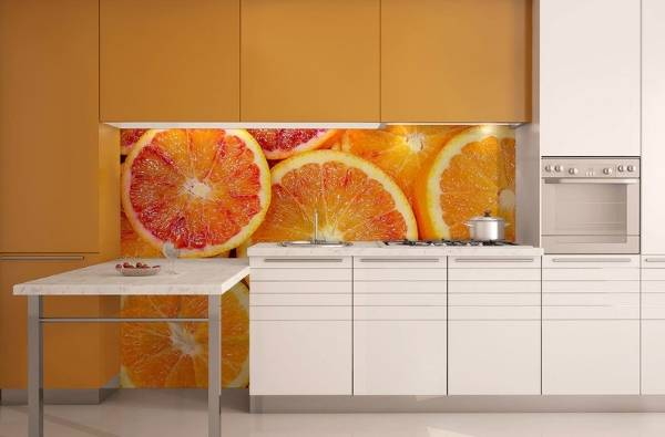 Mutfağın iç kısmında fotoğraf kağıdı - meyvelerle tasarım