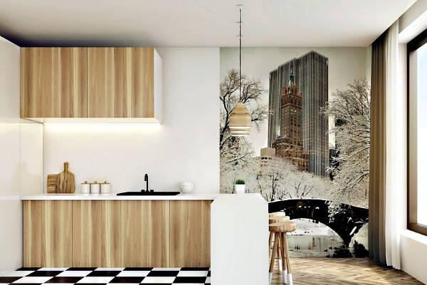 Duvarda fotoğraflı duvar kağıdı ile İskandinav mutfak tasarımı