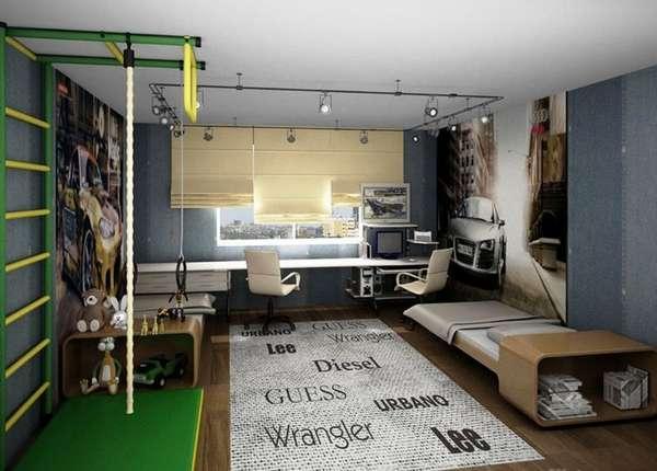 genç erkekler için bir çocuk odasının içi, fotoğraf 28
