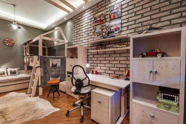 genç erkekler için bir çocuk odasının içi, fotoğraf 30