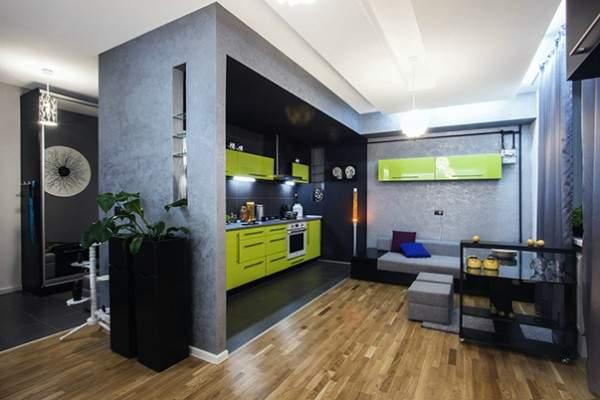 küçük tek odalı bir dairenin iç tasarımı, fotoğraf 9