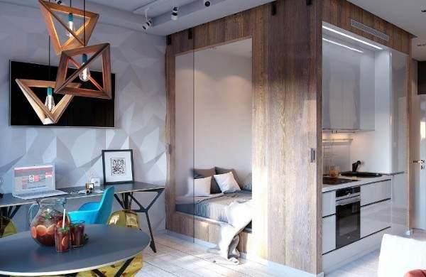 küçük tek odalı bir dairenin iç tasarımı, fotoğraf 10