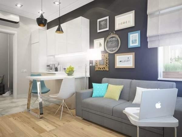 küçük tek odalı bir dairenin iç tasarımı, fotoğraf 14