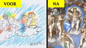 Tekening van Michel (5) onherkenbaar na restauratie