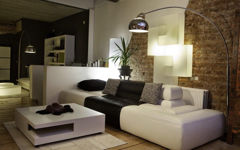 ruang tengah dengan tema monokrom