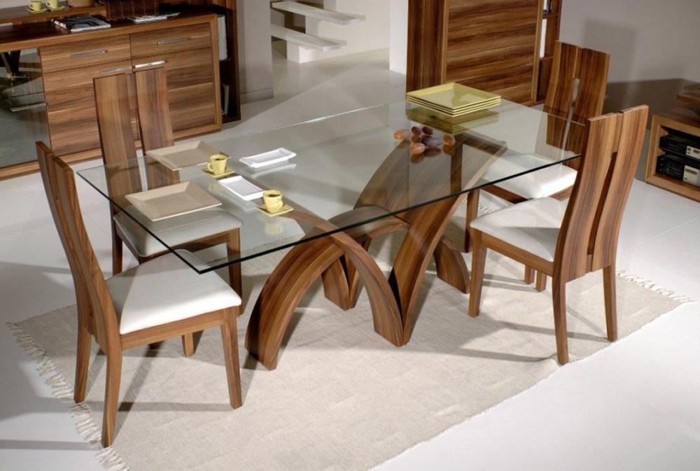 Meja Makan Perpaduan Kaca Dan Kayu