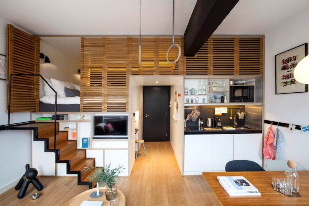 Desain Apartemen Studio Setengah Lantai