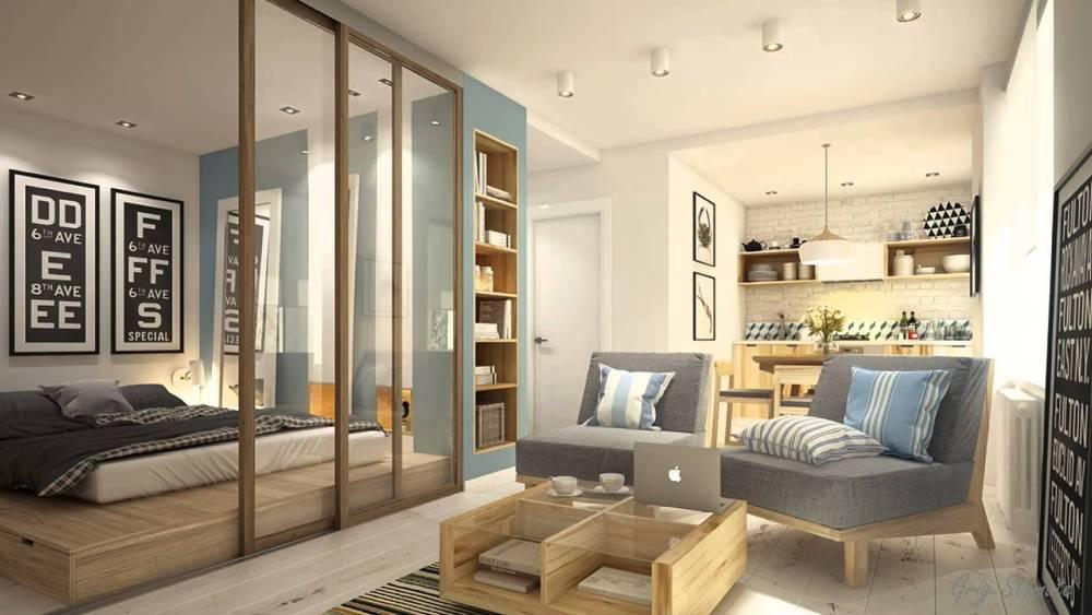 Desain Apartemen Studio Elegan Partisi Minimalis