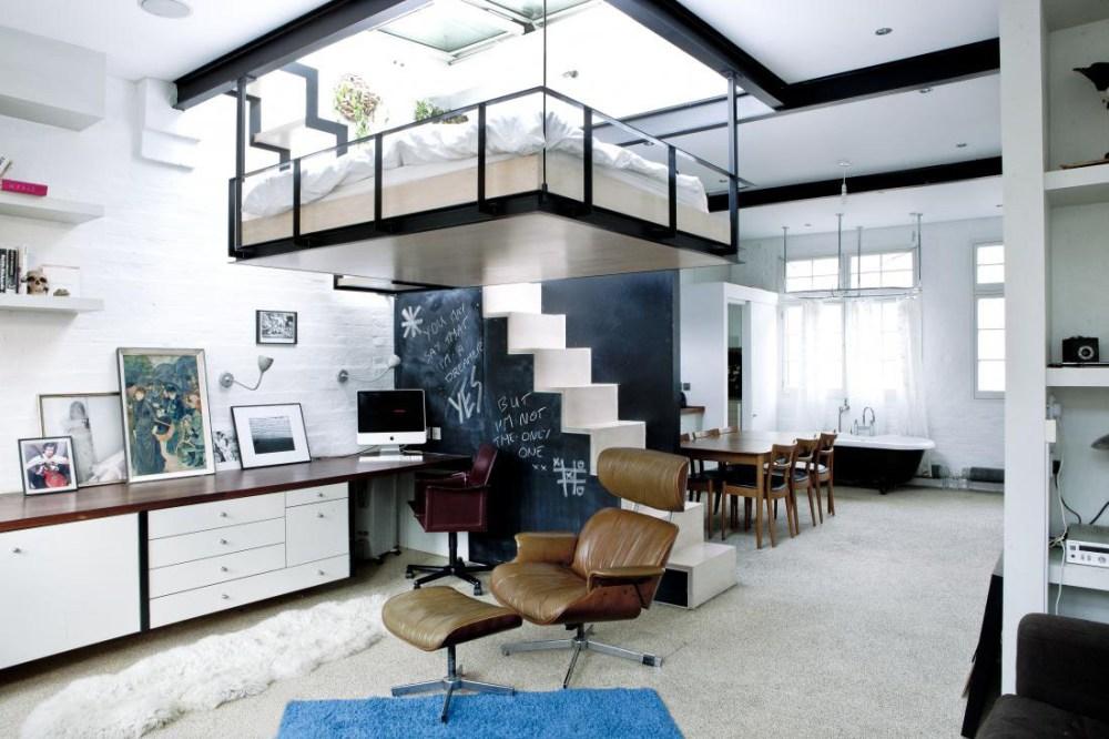 Desain Apartemen Studio Tempat Tidur Gantung