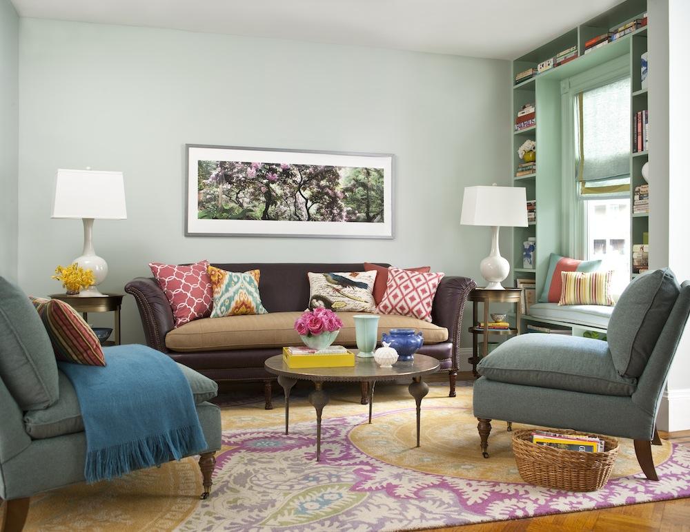 Desain ruang tamu minimalis ukuran 3x3 yang Penuh Warna