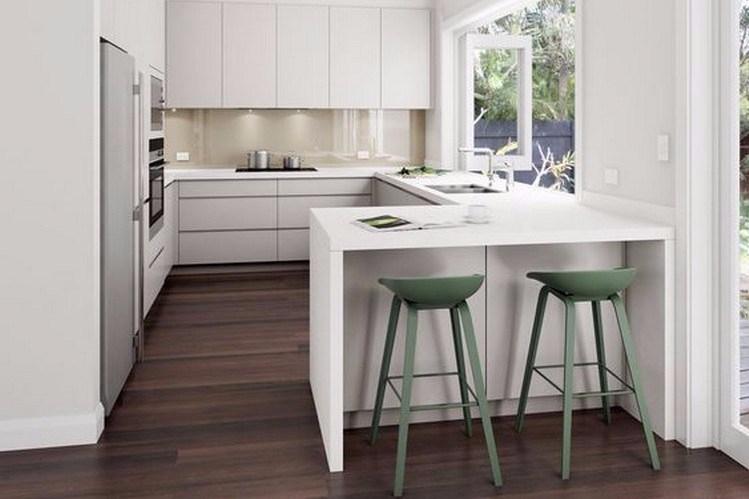 Desain Dapur Minimalis dengan Meja dan Kursi Bar