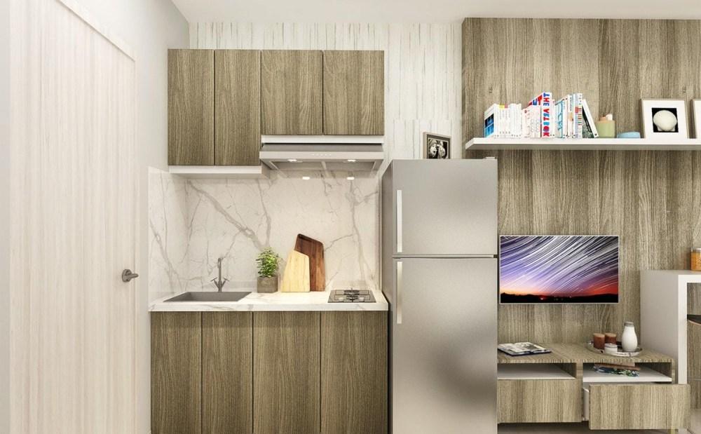Model Dapur Minimalis Aksen Kayu