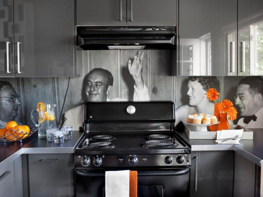 Desain Interior Dapur dengan Wallpaper Foto