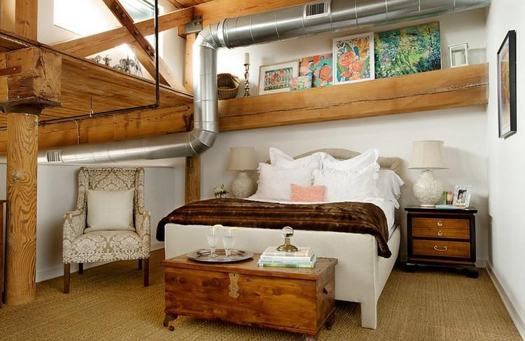 Interior kamar tidur industrial dengan material kayu dan pipa saluran udara