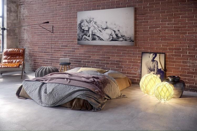 Interior kamar tidur industrial dengan beragam dekorasi