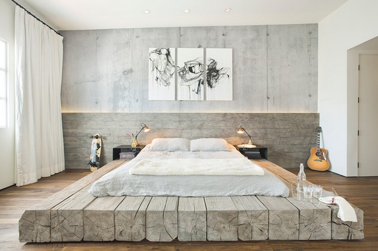 Interior kamar tidur industrial bernuansa lembut